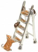 13103 Cat,mice on ladder orange