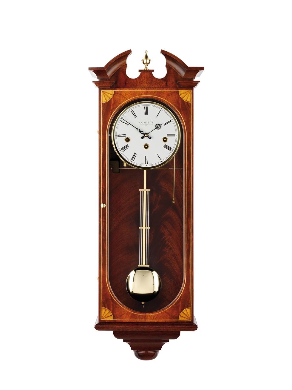 Mahogany 8 Day Comitti Inlaid Westminster Chime Wall