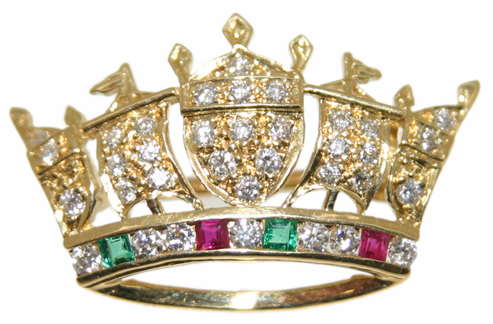 Naval Crown Emerald Ruby And Diamond Brooch 18ct Yellow