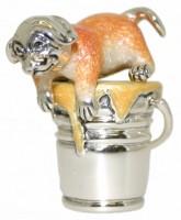 13021 Pupp in bucket silver and enamel saturno
