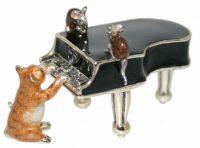 13051 Cat, mice and black piano silver and enamel Saturno