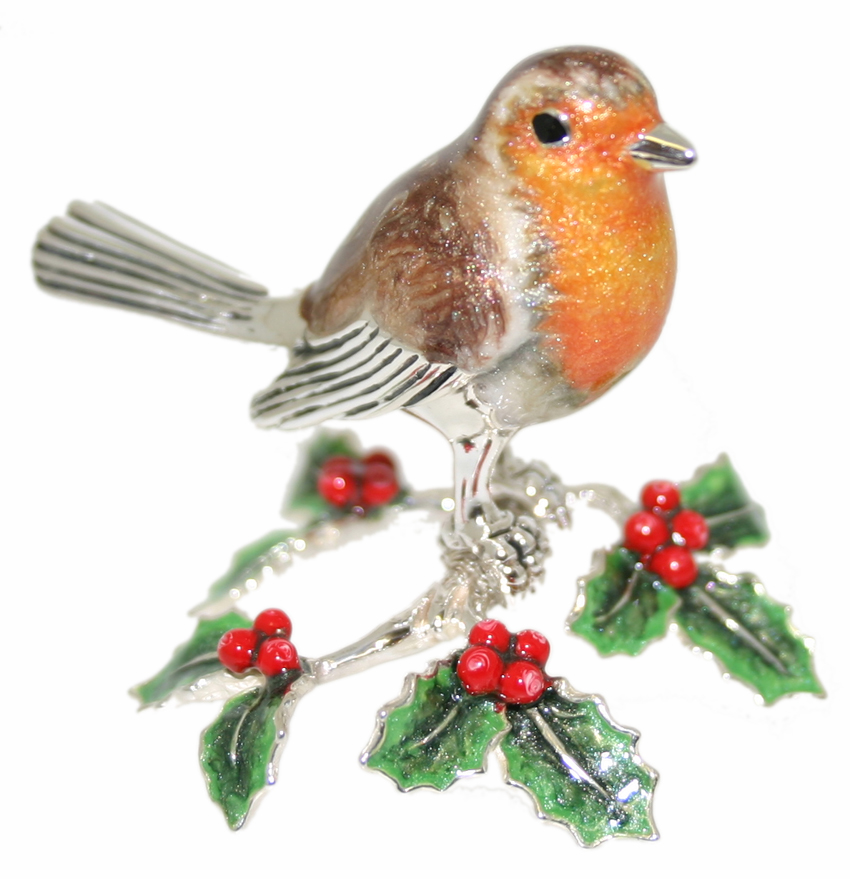saturno silver and enamel robin on holly branch ornament