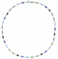 Multi gem and 9ct white gold necklet