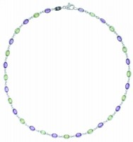 Amethyst and peridot 18ct white gold necklet