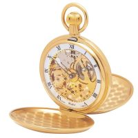 1014 Gold plated jewel lever skeleton hunter Woodford pocket watch