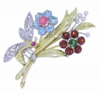 Multi gemstone Floral spray brooch