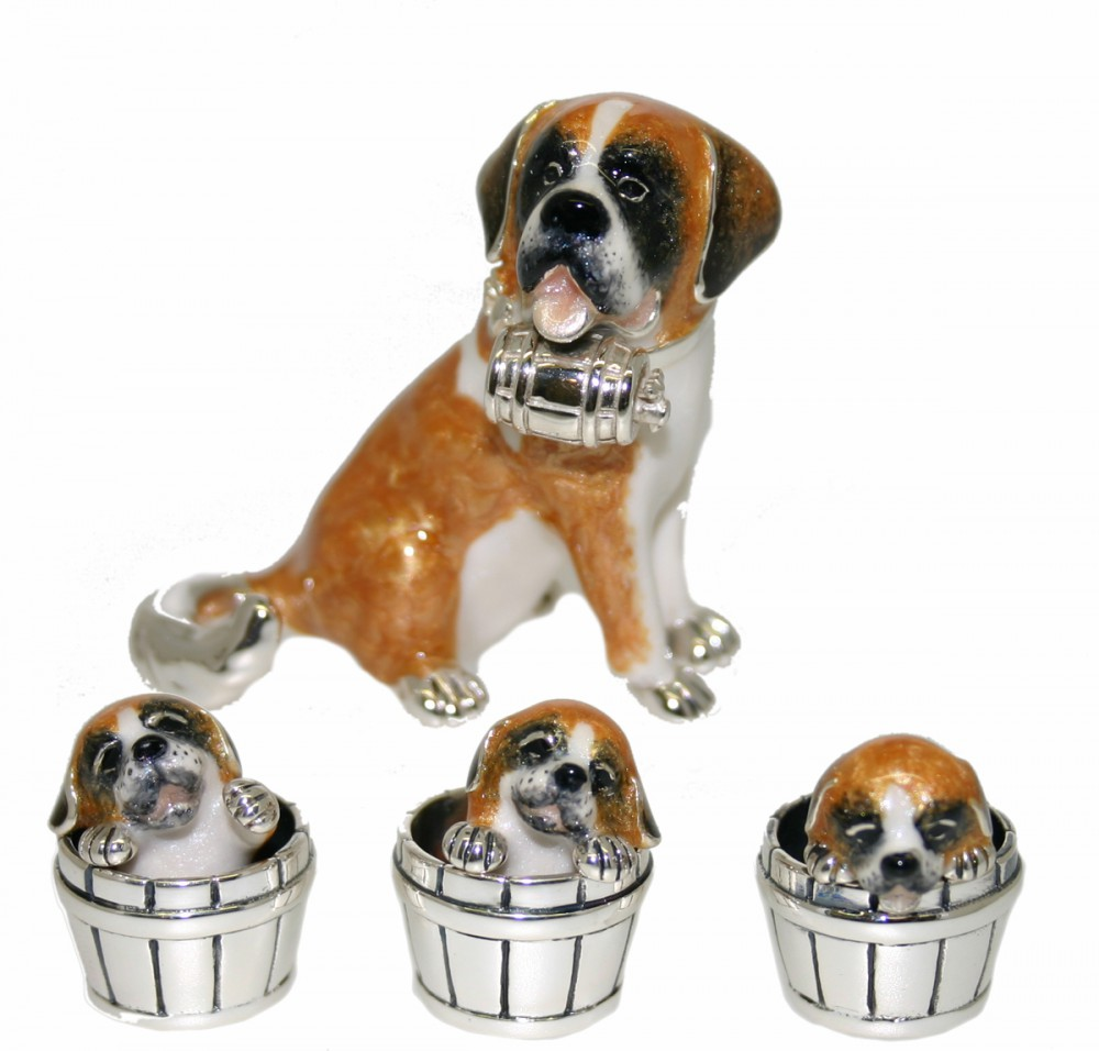 Saturno Silver And Enamel St Bernard And Pups In Barrels