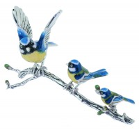 13369 Blue Tits on branch