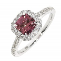 P162.4 Pink tourmaline and diamond cluster ring
