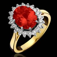 Q162.4 Fire opal cluster ring