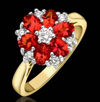 R162:4 Fire Opal cluster ring