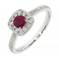 Y139.4 Ruby and diamond cluster ring